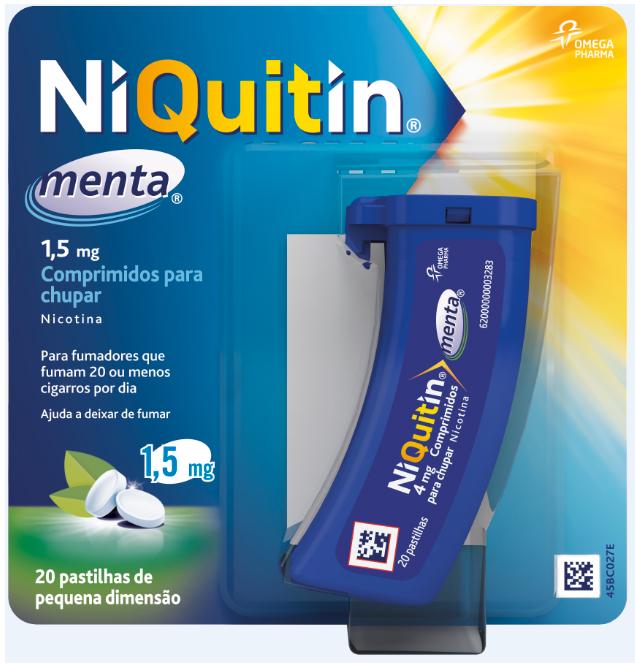 NIQUITIN MENTA COM. CHUPAR 1,5MG 20 UNIDADES