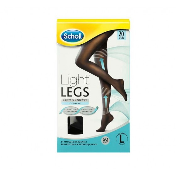 SCHOLL LIGHT LEGS MEIA COMP 20DEN XL PRETO